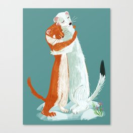 Weasel hugs Canvas Print