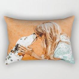 Pet Bound #pets #animals #animalslover #painting Rectangular Pillow