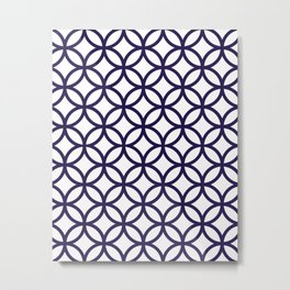 Navy Blue Overlapping Circles Metal Print