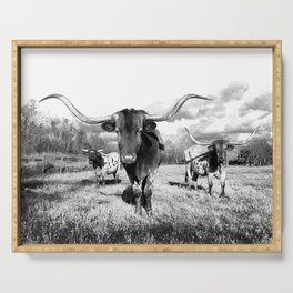 Longhorn Cattle Black and White Highland Cows  Serving Tray