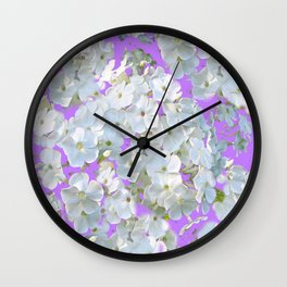 DELICATE LILAC & WHITE LACE FLORAL GARDEN PATTERNS Wall Clock