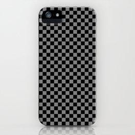 Black and Medium Gray Checkerboard iPhone Case