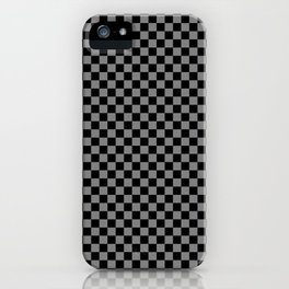 Black and Medium Gray Checkerboard iPhone Case