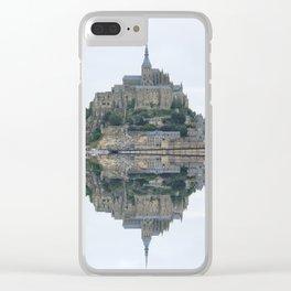 Mirrored landscape 1 Mont-Saint-Michel Clear iPhone Case