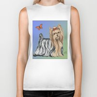 yorkie Biker Tanks featuring Yorkshire Terrier - Yorkie- by Nina Lyman of Dogs By Nina by Cats and Dogs by Nina Lyman