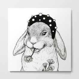 Cute rabbit in hair band with some flowers Metal Print