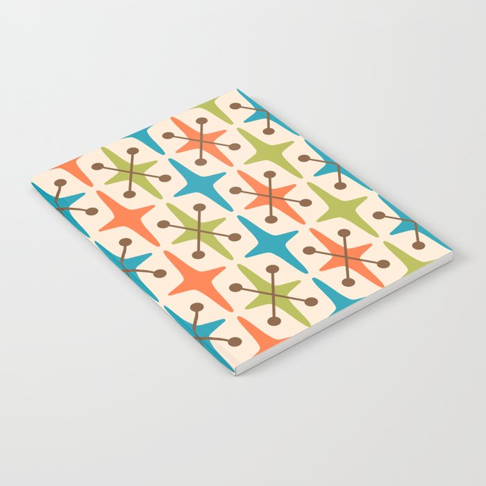 Mid Century Modern Abstract Star Pattern 441 Orange Brown Turquoise Chartreuse Notebook