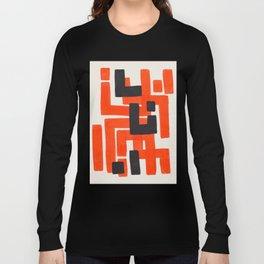 Harsh Mid Century Modern Line Pattern Ancient Aztec Ruins Orange Maze Pattern Black Accent Long Sleeve T-shirt