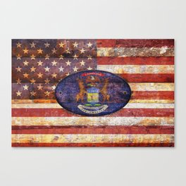 Michigan and USA flag on old wooden planks. Canvas Print