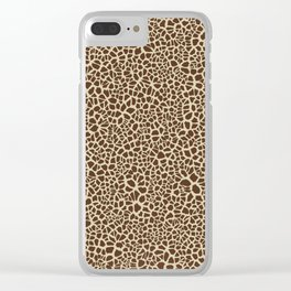 Giraffe Skin Pattern Design Cracked Brown and Tan Texture Clear iPhone Case