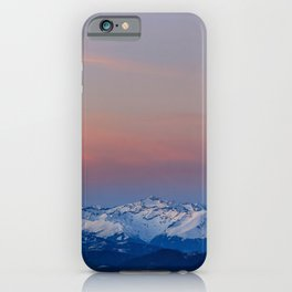Snowy mountains with magical sky iPhone Case