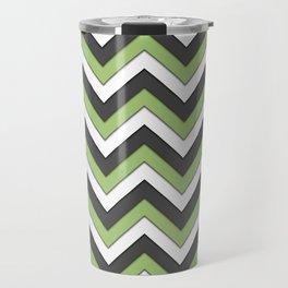 Green Charcoal and White Chevrons Travel Mug