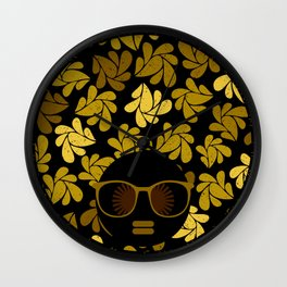 Afro Diva : Gold Wall Clock