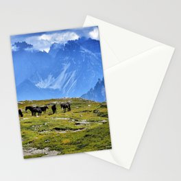 The Three Peaks of Lavaredo with Horses Landscape Stationery Cards