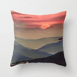 Sunset Cross Landscape Throw Pillow