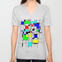 Homage to Piet Mondrian Unisex V-Neck