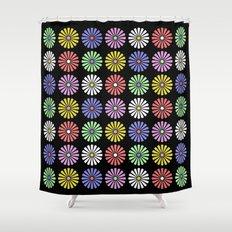 Pastel Flowers Pattern (On Black) Shower Curtain