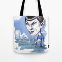 spock Tote Bags featuring spock by ElenaTerrin