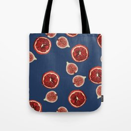 Pomegranate - Figs Pattern blue Tote Bag