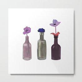Luxury Flowers in Bottles Metal Print