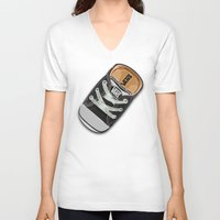 vans V-neck T-shirts featuring Cute black Vans all star baby shoes apple iPhone 4 4s 5 5s 5c, ipod, ipad, pillow case and tshirt by Three Second