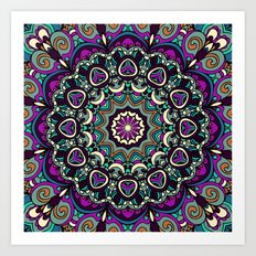 Purple Boho Mandela Pattern Art Print