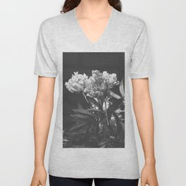 Peony bouquet in black and white textured PF01 Unisex V-Neck