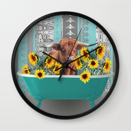 bathtub with Highland cow and sunflowers Wall Clock