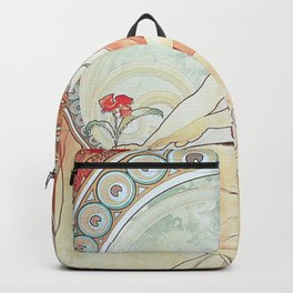 Painting by Alphonse Mucha 1898 // Retro Woman with a Flower Geometric Circle Abstract Backpack