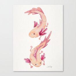 Mexican Axolotls Watercolor Canvas Print