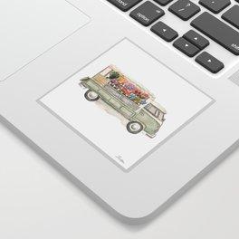 Flower Truck Watercolor Print Mint Sticker