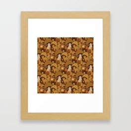 Mushroom Stitch Framed Art Print