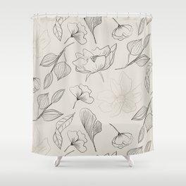 Hand Drawn Flowers Seamless Patterns Shower Curtain