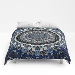 Dark Blue Grey Mandala Design Comforters