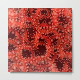 Spring pastels gently pearl and ruby circles and ellipses with the image of abstract flowers. Metal Print