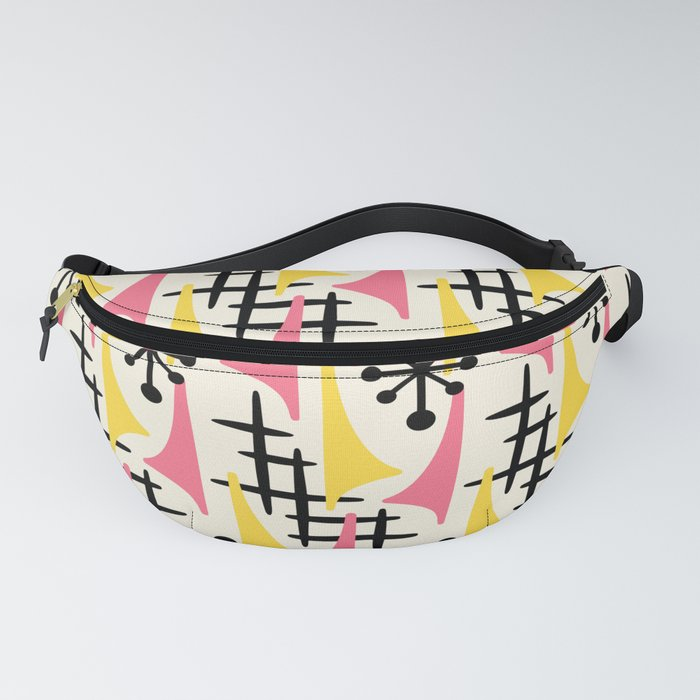 Mid Century Modern Atomic Wing Composition Pink & Yellow Fanny Pack