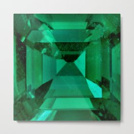 FACETED EMERALD GREEN MAY GEMSTONE Metal Print
