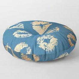 Metallic Gold Lips in Orange Sherbet and Saltwater Taffy Teal Shimmer Floor Pillow