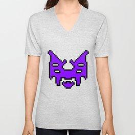 Pixel invader : Purple Unisex V-Neck
