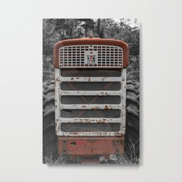 International Farmall 560 Grill Rusty Red Tractor Metal Print