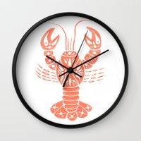 lobster Wall Clocks featuring Lobster by NoelleGobbi