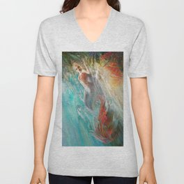 Mermaid sunbathing on the beach fantasy Unisex V-Neck