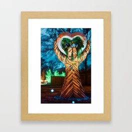 Bentonville Lawrence Plaza Stone Heart in Wooden Hands Sculpture Framed Art Print