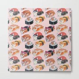 Sushi Corgi Watercolor Metal Print