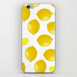 Lemon Pattern Home Decor Wall Hanging Art Print Modern Graphic Design Yellow White Interior iPhone Skin