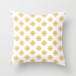 Snowflakes (Orange & White Pattern) Throw Pillow