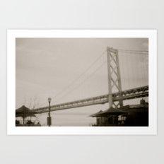 Coffee by the Bridge Art Print