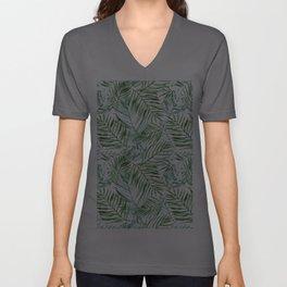 Watercolor palm leaves pattern Unisex V-Ausschnitt