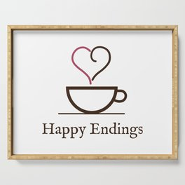 Happy Endings Podcast Logo Serving Tray