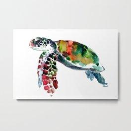 Sea Turtle Olive green, Sage green, Purple Turtle artwork Metal Print